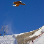 Angeli VanLaanen in the 22' tall superpipe at Park City Mountain Resort