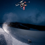 Angeli Vanlaanen skiing the superpipe at Park City Mountain Resort, Utah