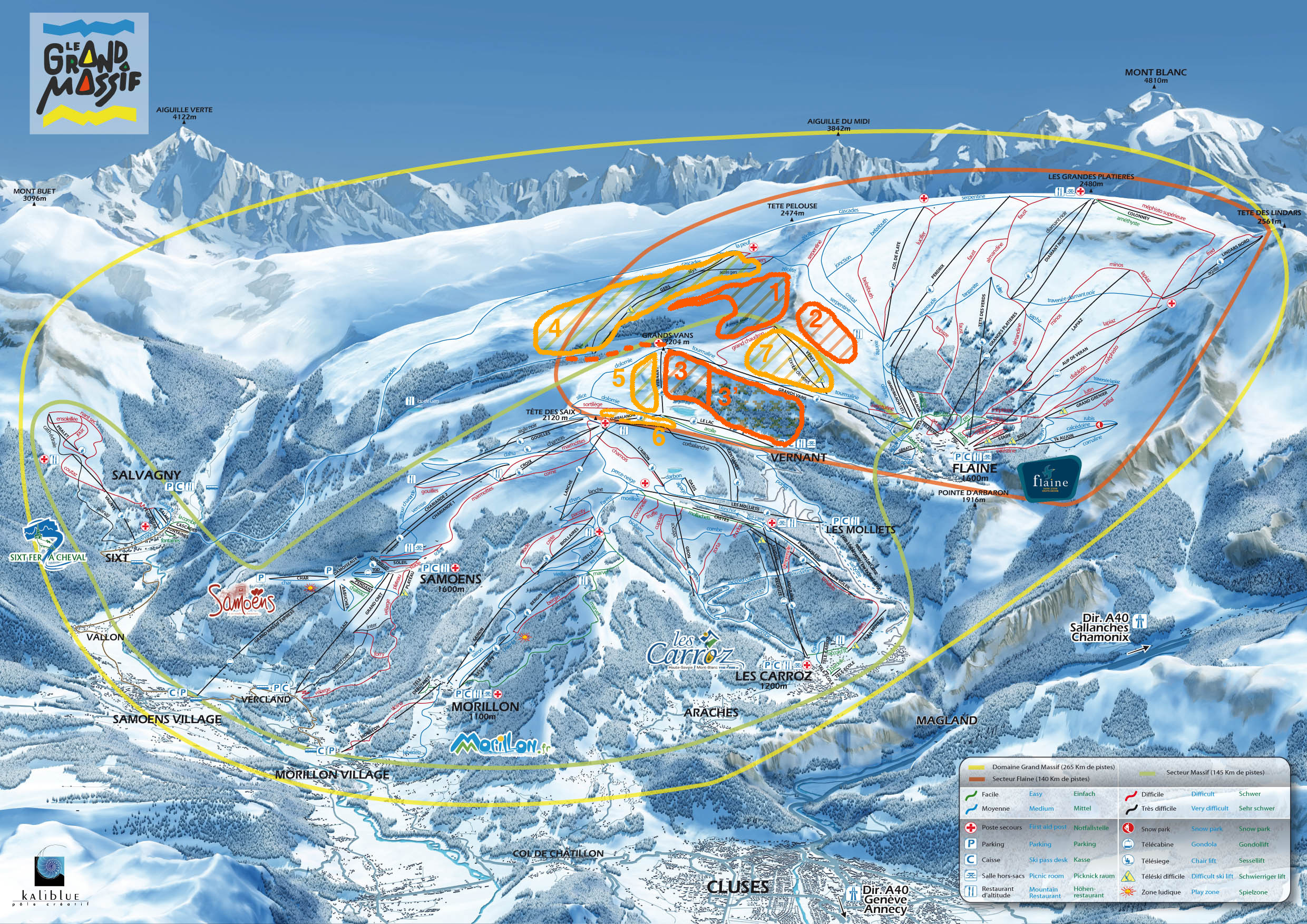 Grand Massif (Flaine) freeride map