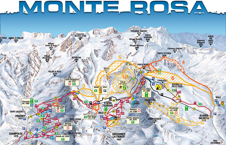 Monterosa offpiste and freeride map