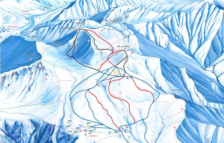 Piste map Gudauri. Схема трасс