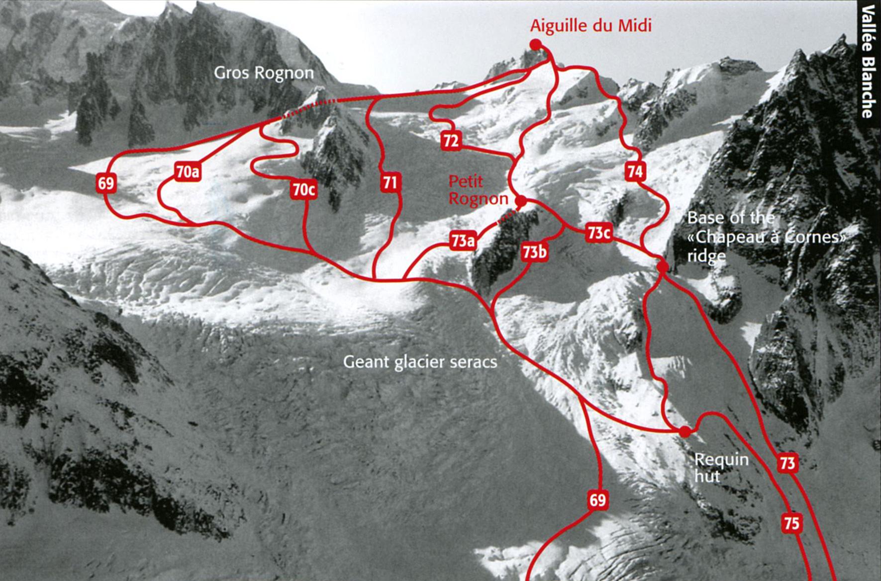 Схема фрирайд маршрутов с Aiguille du Midi (размер 1771 × 1169 по клику)