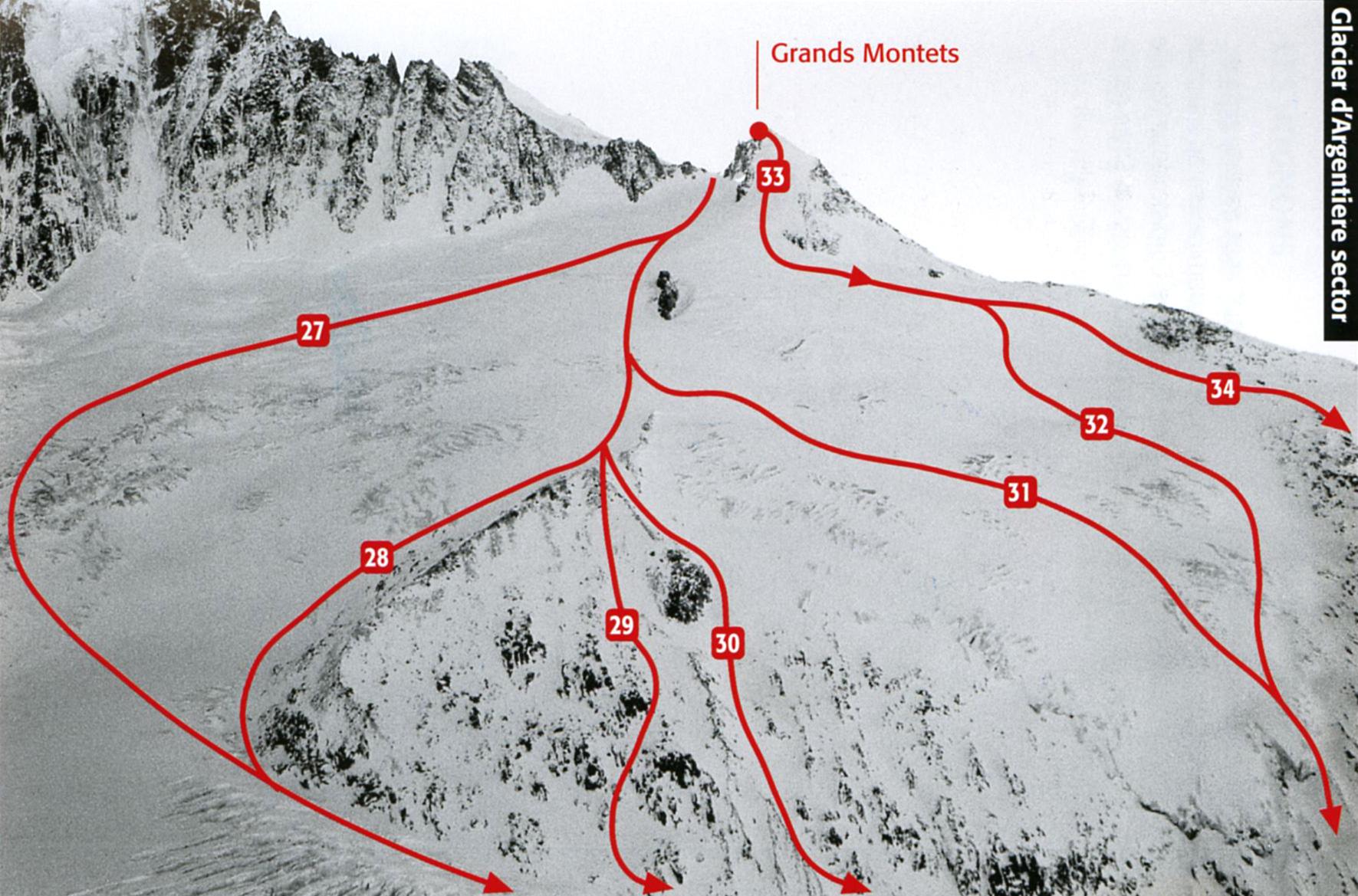 Схема фрирайд маршрут маршрутов с Гран-Монтэ в Шамони (размер 1771 × 1169 по клику)