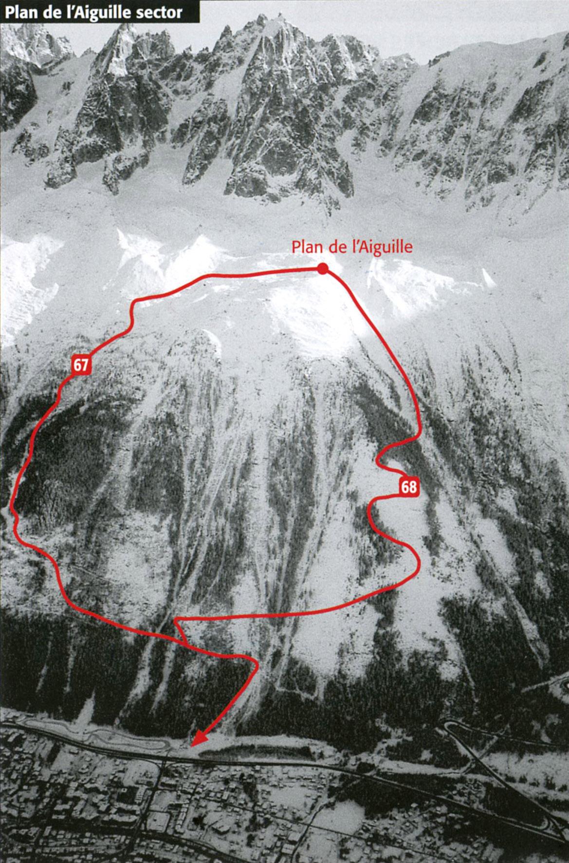 Схема фрирайд маршрутов со средней станции Эгюий Дю Миди (размер 1169 × 1771 по клику)